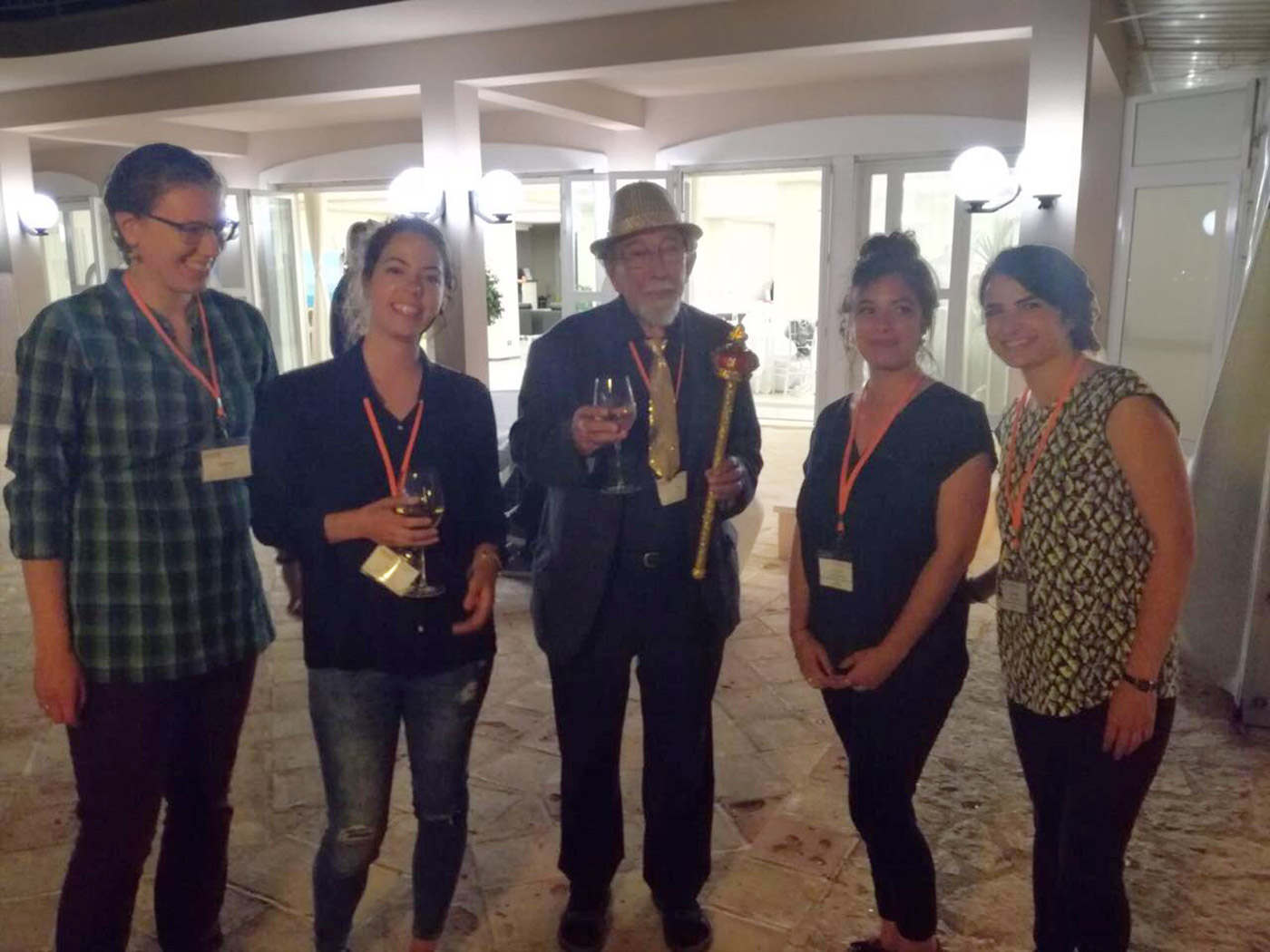 Cecile Exertier and Matilde Trabuco with Professor Sir Tom Blundell director of the Erice International Crystallography School
