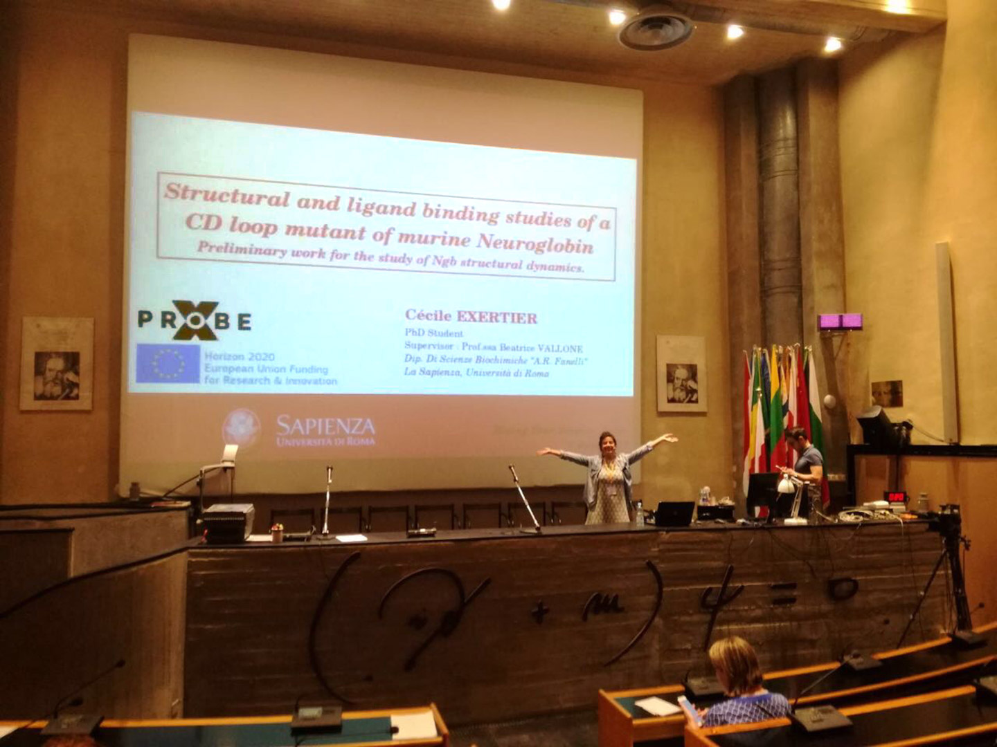 X-Probe Fellow Cécile Exertier presents part of her PhD work at the Erice International Crystallography School